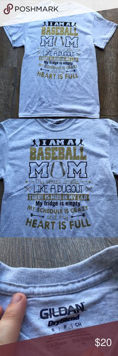NWOT baseball mom tshirt size small NWOT super cute gray tshirt with black and gold writing on it. Size small.  For baseball moms. Smoke free home with pets Gildan Tops Tees - Short Sleeve