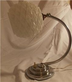Art Deco adjustable Desk lamp with hobnail glass shade. £ 100. @ http://maxartdeco.binary-synergy.com/