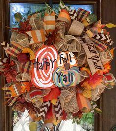 Happy Fall Y'all pumpkin wreath