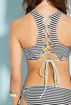 Striped Strappy High-Neck Bikini Top | Forever 21 - 2000131069