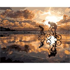 Frameless Home Decor Wall Art Picture Diy Oil Painting By Numbers Kits Acrylic Paint On Canvas Wall Art 40x50cm Sunset Cycling
