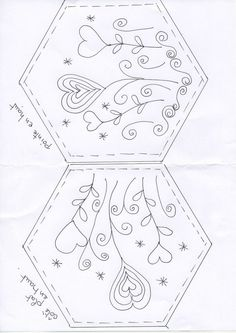 Un petit défi... embroidery pattern for a hexagon - http://www.diyhomeproject.net/un-petit-defi-embroidery-pattern-for-a-hexagon