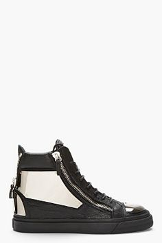 GIUSEPPE ZANOTTI BLACK LEATHER METAL-PLATED HIGH-TOP SNEAKERS - http://africanluxurymag.com/shop-item/giuseppe-zanotti-black-leather-metal-plated-high-top-sneakers/