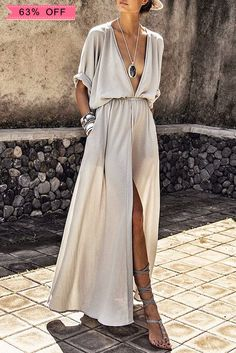Deep V-neck Maxi Shirtdress $29.99