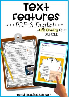 Check out these PDF & digital text features worksheets! This comes with a SELF GRADING Google forms quiz! The Google slides are perfect for digital distance learning, while the printable PDF serves as a perfect NO-prep activity! Efficient and interactive, the Google Form automatically generates a spreadsheet of student scores, making grading papers a thing of the past. Reading Comprehension Passages, Reading Fluency, Classroom Crafts, Classroom Activities, Fifth Grade, Second Grade, Teaching 5th Grade, Teaching Spanish, Teaching Resources