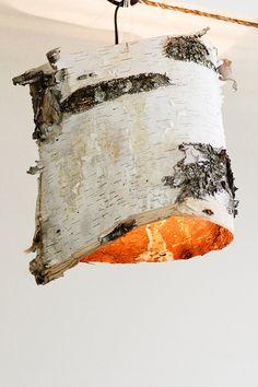 DIY Birch Bark Lamps tutorial at: http://ruffledblog.com/diy-birch-bark-lamps/