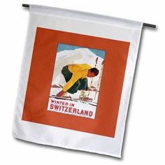 3dRose Winter in Switzerland Man Putting on his Skis Luggage Label, Garden Flag, 18 by 27-Inch