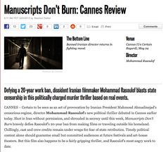 MANUSCRIPTS DON'T BURN Mohammad Rasoulof's art film in Cannes won the FIPRESCI Prize. Find in video at 3.09