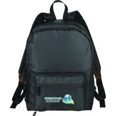Clients will know you have their back when you give them this BRIGHTtravels Packable Backpack! It features adjustable, padded straps, a mesh water-bottle pocket, one main zippered compartment and two front pockets. It can even fold into its own zippered compartment for easy storage. Use this sturdy sac is made of lightweight ripstop material and is for hiking or traveling! Enjoy the bonus Pack N' Guide with the Top 5 packing tips to 'Pack Like A Pro'!