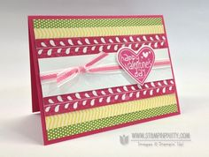 Fun Valentine Card...Stampin' Up! Happy Valentine's Day stamp (available until Jan. 21).  Sunshine & Sprinkles DSP and Melon Mambo Striped Organdy Ribbon are from the 2013 Spring Catslog