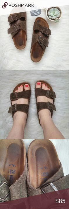Suede Birkenstock Arizona Soft Footbed 38 Very Gently worn - tons of life left! Great condition overall. See photos for up close detail. So comfy!!!   BUNDLE your likes and shoot me and OFFER! Glad to negotiate. Hundreds of items available for discounted bundle offers!  Follow on IG: @the.junk.drawer Birkenstock Shoes Sandals