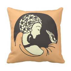 Modern Art Nouveau the lady with a ring throw pillows