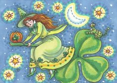 WITCH ON A FLYING SHAMROCK - Celebrate St. Patrick's Day with an Irish WITCH Green Cat Halloween EHAG By Susan Brack Art ACEO EBSQ Holiday Illustration SFA