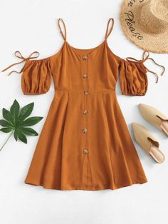 Open Shoulder Knot Button Front Dress - Open Shoulder Knot Button Front DressFor Women-romwe Source by pramirz - Cute Summer Outfits, Cute Casual Outfits, Pretty Outfits, Pretty Dresses, Spring Outfits, Casual Dresses, Summer Dresses, Casual Clothes, Girls Fashion Clothes