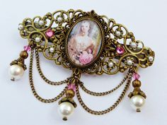 Filigree baroque hair clip with shell core pearls, antique hair clip, pearl hair clip, lolita hair accessoires - pinned by pin4etsy.com
