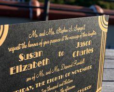 Susan and Jason's foiled invite! Deco Wedding Invitations, Foil Paper, Gatsby, Invite, Art Deco, Stationery, Google, Blog, Inspiration