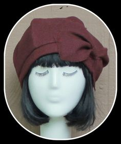 Beret Hat Vintage Burgundy Wool with Bow by Bellastarrhats on Etsy, $65.00
