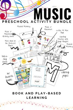 M is for Music Preschool Activities and Printables.  Fun and engaging book-based preschool activities and printables. This bundle includes an entire week of book and play-based music themed activities for your preschooler. Play games, count, and read books together. These activities include music playlists and book ideas for your preschooler or kindergartener.  #readingtodiscover #preschoolactivities #musicpreshoolactivity #musicactivity #alphabetactivity #lettermpreschoolactivity #mactivity Letter M Activities, Movement Activities, Music Activities, Preschool At Home, Preschool Activities, Book Letters, Music And Movement, Learning The Alphabet, Toddler Learning