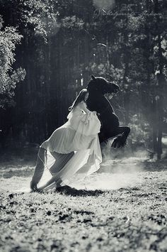 Horse black and white photography. Girl and flowing gown with raring horse. for colorful-inspirational-Prophetic-Art and stories. Pretty Horses, Horse Love, Beautiful Horses, Horse Girl, Equine Photography, White Photography, Belle Photo, Beautiful Creatures, Fairy Tales