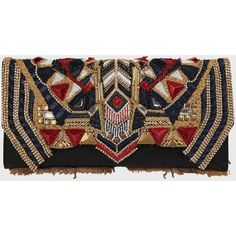 Balmain Muticolor Embroidered Leaher Clutch ($1,340) ❤ liked on Polyvore