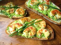 What's for Lunch? Tartines w/ Grilled Shrimp & Avocado ) ) Tartines w/ Grilled Shrimp & Avocado (adapted from 'La Tartine Gourmande, Recipes for an Inspired Life') Best Avocado Toast Recipe, Avocado Recipes, Healthy Recipes, Avocado Food, Seafood Recipes, Appetizer Recipes, Cooking Recipes, Pork Rib Recipes, Shrimp Avocado