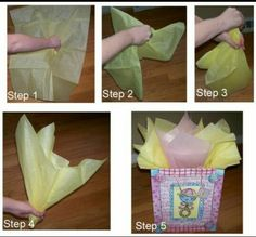 How to put tissue paper in a gift bag