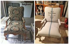 DIY Projects Using Paint: If reupholstering is not in the budget, try painting. This chair was painted with Annie Sloan Chalk Paint and accented with a stripe detail and stenciling. Painting Fabric with Annie Sloan Chalk Paint Tutorial Furniture Projects, Furniture Makeover, Diy Furniture, Diy Projects, Reupholster Furniture, Painting Fabric Furniture, Painted Furniture, Chalk Painting, Fabric Painting