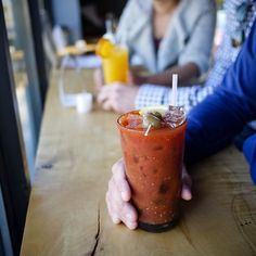 Bloody Mary time. Brunch today til 2 with food from @lapoblanataco!