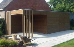 Though ancient in principle, your pergola is enduring somewhat of a present day renaissance these Steep Backyard, Backyard Landscaping, Outdoor Rooms, Outdoor Decor, Timber Roof, Bike Shed, Pergola With Roof, Garden Office, Pool Houses