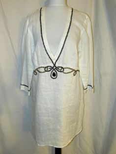 Sz M Chico's Size 2 White Linen Tunic Cover Top Black Gold Beads 3/4 Sleeves  #Chicos #Tunic #VersatileCoverUp