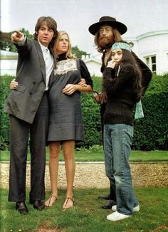Paul and Linda McCartney, John Lennon, and Yoko Ono at the Lennon's Tittenhurst home. The occasion was the very last photo session with all the Beatles, August 22, 1969.  The album cover for Hey Jude was taken from this photo session.
