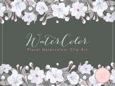 wca34 elegant rustic watercolor flowers cliparts