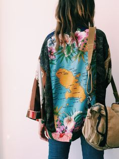 Upcycled Scarves Kimono & TK Messenger Bag #ss15 #upcycledfashion #vintage