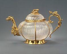 Teapot. Rock crystal ca. 1700, mounts ca. 1720. German (Dresden) mounts and Indian (Mughal) crystal. Rock crystal and gold