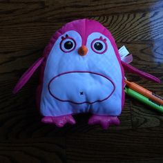 Inkoos stuffed animal Pink and white Inkoo includes 2 washable markers to decorate with. Other