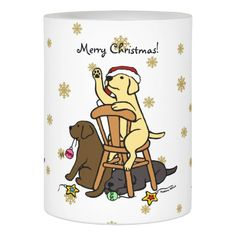 Labradors and Ornaments Christmas Candle