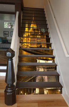 3D Shiny City Palace 1547 Stair Risers | AJ Wallpaper Marble Stairs, Glass Stairs, Stair Stickers, Photo Wall Stickers, Stairs Vinyl, Basement Movie Room, Stair Art, Decoration Photo, Coffee Shop Bar