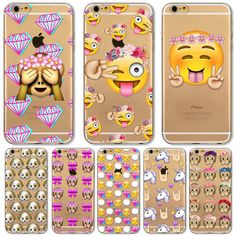 New Case For Apple iPhone 6 6S Plus 6Plus 4 4S 5 5S SE 5C Funny Smile Face Facebook Emoji Painted Soft TPU Silicon Cases Cover ** Clicking on the image will lead you to find similar product