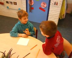 Afgelopen week heb ik een les gegeven over samenwerken. Kind 1 kreeg een kaartje met een plaatje erop. Hij moest dit plaatje zo omschrijven dat kind 2 het kon natekenen. Hierbij leren ze dus goed naar elkaar luisteren en goede vragen bedenken. De resultaten waren verbluffend.