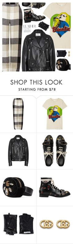 """""""Leather Rebel"""" by pokadoll ❤ liked on Polyvore featuring Whistles, MadeWorn, Acne Studios, Gucci, Rebecca Minkoff, polyvoreeditorial and polyvoreset"""