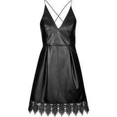 TOPSHOP Plunge Front PU Dress (1 895 ZAR) ❤ liked on Polyvore featuring dresses, vestidos, short dresses, robes, black, short fitted dresses, cocktail party dress, black dress, topshop dresses and going out dresses