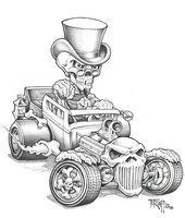 Hot Rod Cartoon Art Gallery | Bone Rod pencil by Tetzlaff