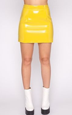 Daphne Yellow PVC Mini Skirt by Pretty Little Thing