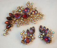 Vintage Purple Bi-Color AB Large Brooch and Earring Set