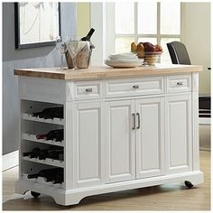 3-Drawer White Kitchen Cart at Big Lots. Saw this the other day and love it! On the other end are plain shelves (for cookbooks, cookware, etc). The drawers slide through to the other side and the doors are on both sides. Since I don't need the wine bottle storage, think I'll replace them with more shelving. $349.99's not a bad price!