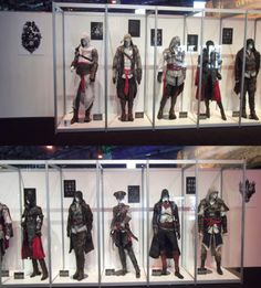A display with costumes from Assassin's Creed at Gamescom