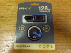 NEW  PNY Turbo Retract 128GB USB 3.0 Flash Drive - http://electronics.goshoppins.com/drives-storage-blank-media/new-pny-turbo-retract-128gb-usb-3-0-flash-drive/