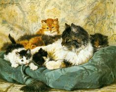 A Cat and Her Kittens by Henriette Ronner-Knip in a Private Collection