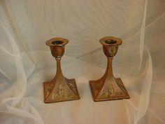 Vtg Copper over Brass Candlesticks Worn Rough Shabby Ornate 4 inch LOT of 2