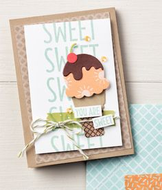 Create your favorite ice cream treats out of paper using the Cool Treats stamp set bundle. Bday Cards, Beautiful Handmade Cards, Stamping Up Cards, Scrapbook Cards, Scrapbooking, Paper Cards, Recipe Cards, Cool Cards, Kids Cards